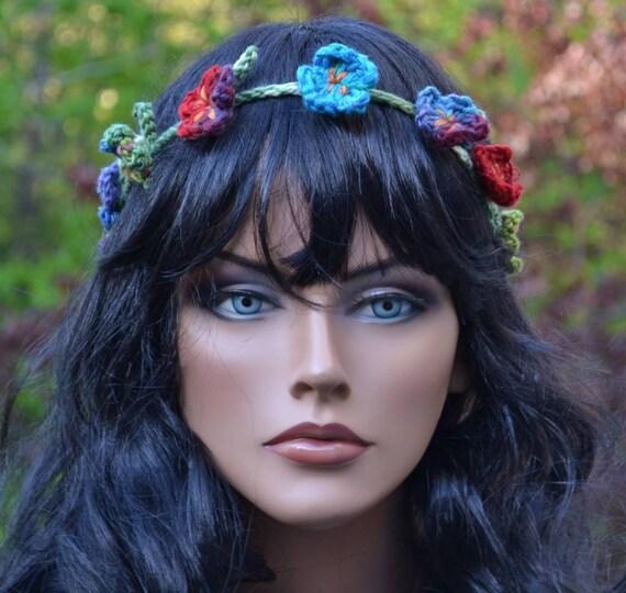 Crochet Daisy Chain Headband Bright Flower Garland Headband Adjustable Wreath Circlet