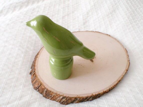 Moss Green Bird on Pedestal