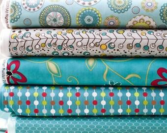 Aqua Love Fabric Bundle - Half Yard Bundle - 5 half yard pieces (B63)