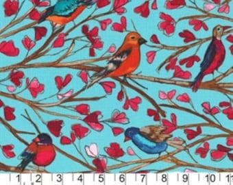 Garden Wall - Wing Song Aqua Cotton Print Fabric from Laura Gunn from Michael Miller