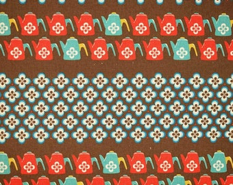 Ruby Star Shining - Water Can teal red by Melody Miller from Kokka Fabrics