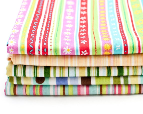 Stripes Bundle - 5 FAT quarters - (B40)