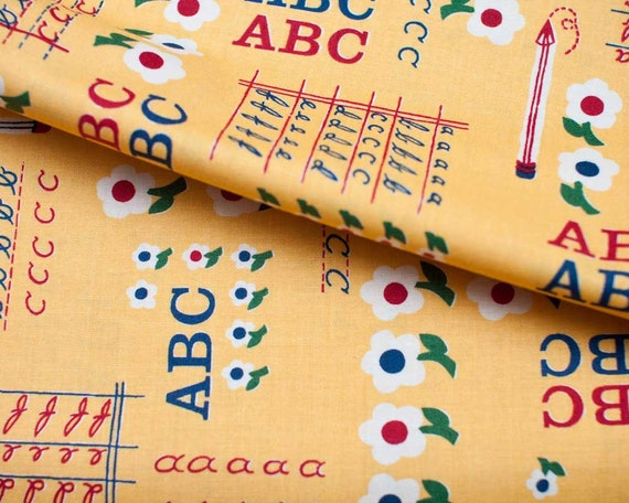 SALE - School Days - ABC 123 No 2 Pencil yellow by American Jane from Moda