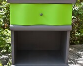 Retro Lime Green and Gray Nightstand