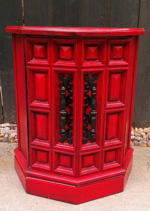 High Gloss Cherry Red Side Table