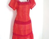 Vintage 70s Candy stripe print hippie cotton cheesecloth gauze CROCHET folk dress Size S UK 10 US 8