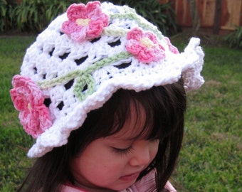 Spring Garden Sun Hat Crochet Pattern - Cloche Beanie PDF - Cute and easy to make - Instant Digital Download