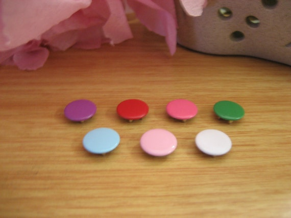 10 x Colourful metal snap prong buttons 11mm size
