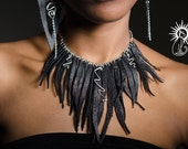 "Leather Fringe Necklace ""Striking"""