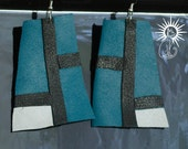 Leather Earrings Teal Black White Color Block