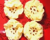 2 Pretty Cream Crochet Daisy Flowers, embellishments