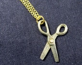 Scissors Necklace gold Miniblings Sewing sew Cutting Hairdresser Crafts Craft