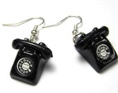 Telephone Earrings old Phone Phones with Rotary Dial black Miniature