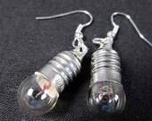 Electric Bulb Earrings  real Light Bulb silver Miniblings Earring Lamp Glas