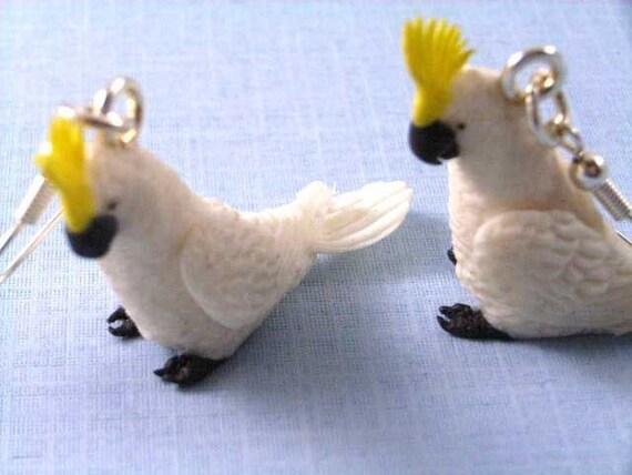 Cockatoo Earrings Miniblings Earring Bird Birds Parrot white  Zoo