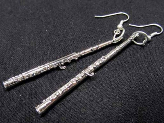 Flute Earrings Instrument Music Orchestra silver plated Musician Band Miniblings LONG
