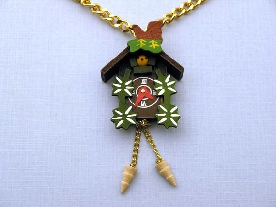 Cuckoo Clock Necklace XL Miniblings Watch Cockoo Peekaboo Peep-bo Black Forrest