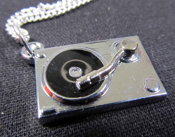 Turntable Necklace silver Record Player silver plated Music DJ Miniblings LP Player