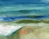 "Original Watercolor, Wave, Ocean, ""August"""
