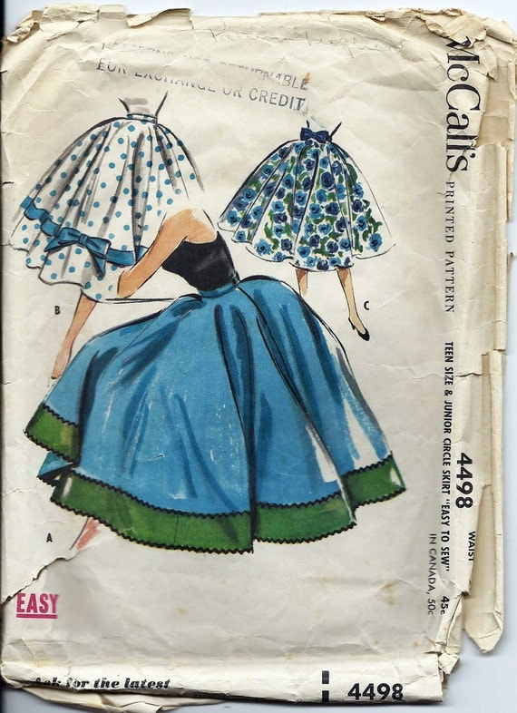Vintage 50s Circle Skirt Sewing McCalls Pattern 4498 Teen and Junior Size Waist 26 Dated 1958 Original not a repro