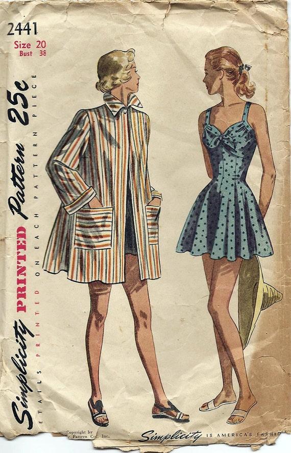 Vintage 1940s Misses Bathing Suit, Beach Coat Simplicity Pattern 2441, Original Not a Repro, UNCUT, Misses Sz 20