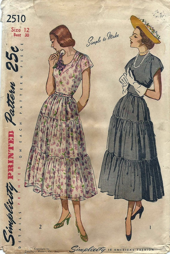 40s Afternoon Tea Dress UNCUT Simplicity Pattern 2510 Bust 30 Original not a Repro Vintage Sewing Pattern Dated 1948