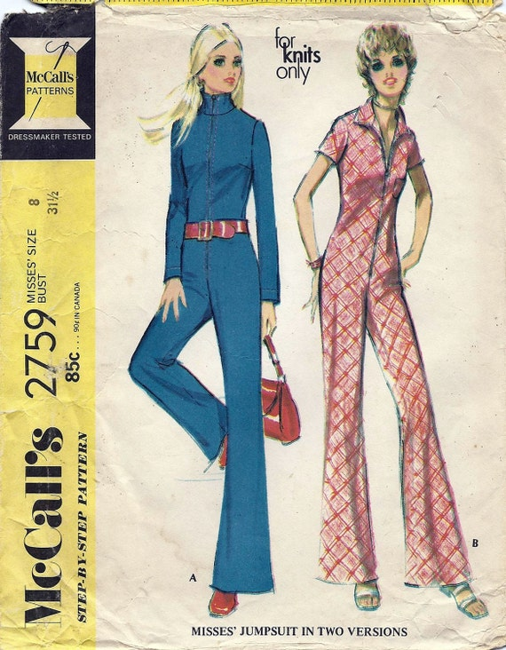 70s Misses Jumpsuit Pattern 2759 McCalls Pattern Misses Size 8 For Knits Only Original not a Repro Vintage Sewing Pattern