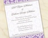 wedding invitations, lavender bridal shower invitations, graduation party invitations, retirement party invitations, IN141