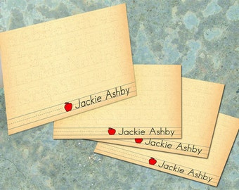 thank you cards, personalized thank you cards, teacher thank you cards, apple thank you cards, a note from teacher, teacher appreciation