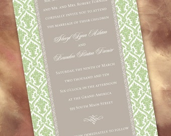 wedding invitations, sweet pea damask and silver wedding invitations, sage and gray damask wedding, green bridal shower invitations