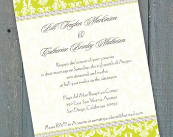 wedding invitations, bridal shower invitations, graduation party invitations, retirement party invitations, yellow bridal shower ideas IN141