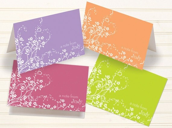 thank you cards, personalized notecards, floral notecards, pink flower cards, tangerine thank you cards, lime personalized notecards