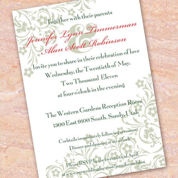 wedding invitations, emerald wedding invitations, sage bridal shower invitations, mint wedding invitations, emerald and cranberry invitation