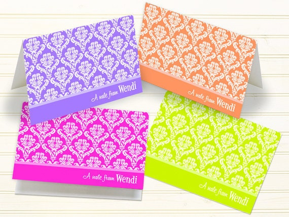 personalized notecards, thank you cards, personalized thank you cards, tangerine thank you cards, hot pink notecards, lavender notecards