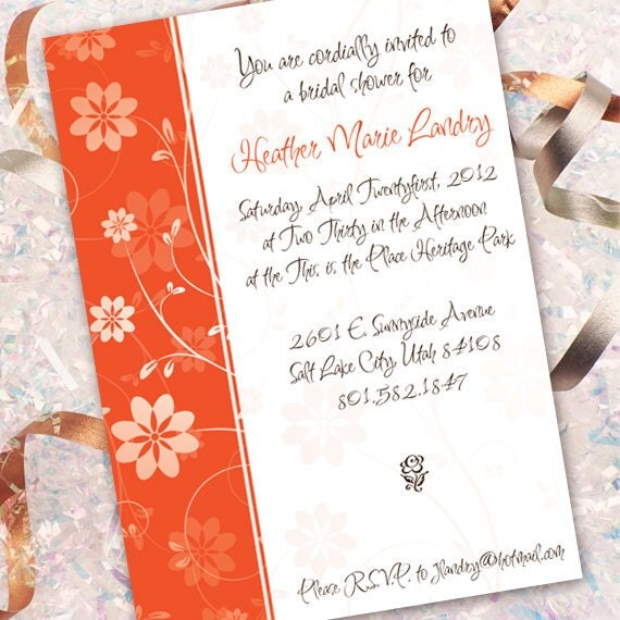 bridal shower invitations, birthday party invitations, sweet sixteen party invitations, tangerine bachelorette party ideas, IN148