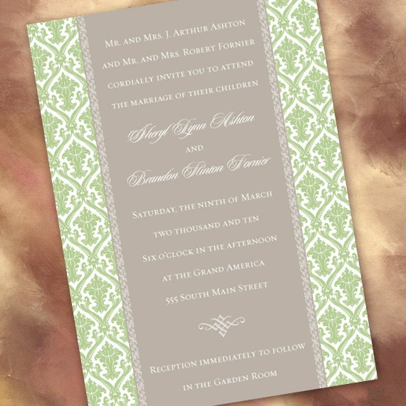 wedding invitations, sweet pea damask and silver wedding invitations, sage and gray damask wedding, green bridal shower invitations