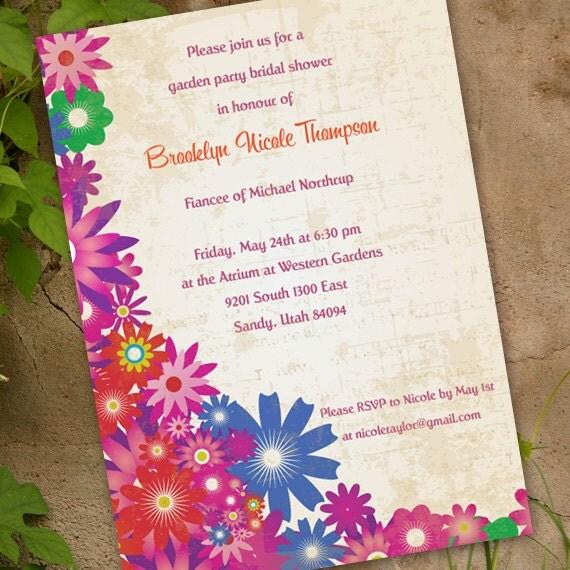 bridal shower invitations, floral bridal shower invitations, garden party invitations, spring fling, floral bridal shower, girl party