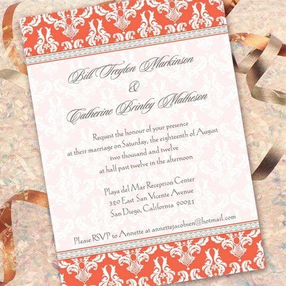 wedding invitations, tangerine wedding invitations, tangerine bridal shower invitations, orange graduation invitations, IN153_1