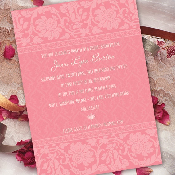 bridal shower invitations, wedding invitations, bubblegum pink damask invitations, cotton candy wedding invitations, pinkalicious party