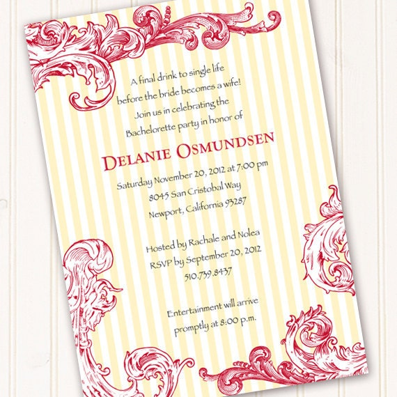 bridal shower invitations, hot pink and canary bridal shower invitations, canary and fuchsia wedding invitations, thank you cards