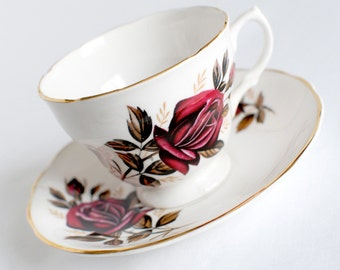 Burgundy Rose China Tea Cup, Vintage