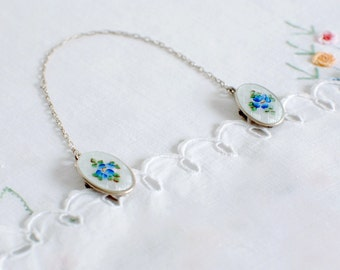 Vintage Bib Clips in Sterling Silver and Enamel