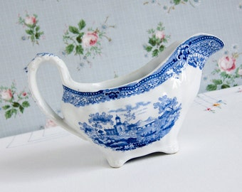 English Transferware Gravy Boat in Blue, Vintage