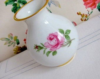 Porcelain Flower Vase with Roses, Petite & Vintage