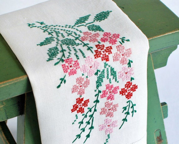 RESERVED FOR JILL - Vintage Hand Towel Embroidered