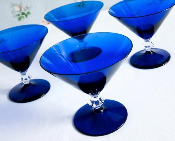 Vintage Cocktail Glasses in Cobalt Blue