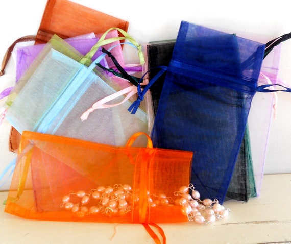 """Organza Bags - Jewelry Gift Pouch - Set of 12 - 5 1/2"""" x 3"""""""