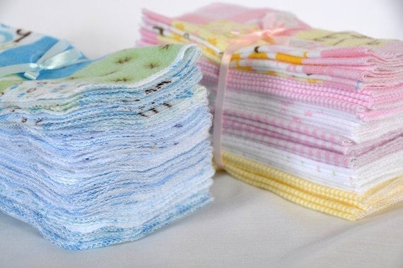Cloth Baby Wipes Starter Kit. 3 dozen wipes SALE 20% off.  Eco friendly reusable wipes.