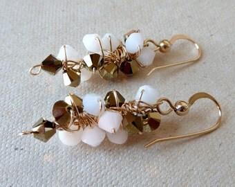 Elegant White Gold Earrings 14K Gold Filled