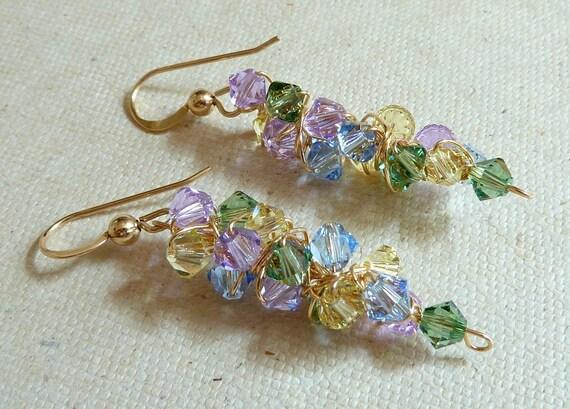 Romantic Dangle Earrings  Blue, Purple, Green, Yellow 14K